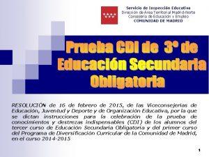 Servicio de Inspeccin Educativa Direccin de rea Territorial
