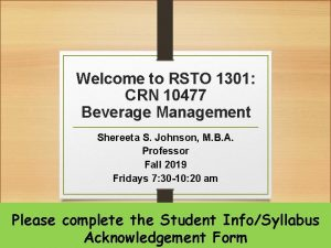 Welcome to RSTO 1301 CRN 10477 Beverage Management