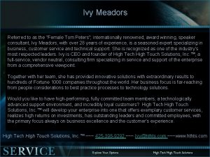Ivy Meadors Referred to as the Female Tom