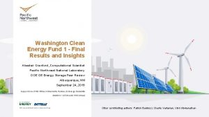 Washington Clean Energy Fund 1 Final Results and