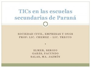 TICs en las escuelas secundarias de Paran SOCIEDAD