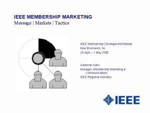 IEEE MEMBERSHIP MARKETING Message Markets Tactics IEEE Membership