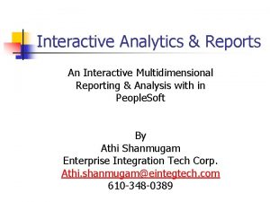 Interactive Analytics Reports An Interactive Multidimensional Reporting Analysis