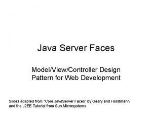 Java Server Faces ModelViewController Design Pattern for Web