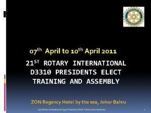 07 th April to 10 th April 2011