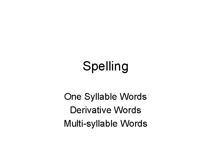 Spelling One Syllable Words Derivative Words Multisyllable Words
