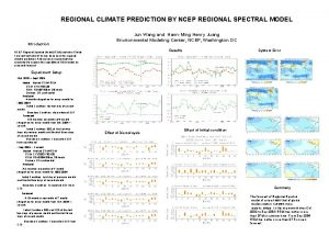 REGIONAL CLIMATE PREDICTION BY NCEP REGIONAL SPECTRAL MODEL