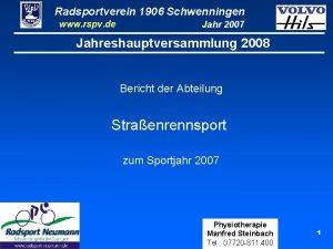 Radsportverein 1906 Schwenningen www rspv de Jahr 2007