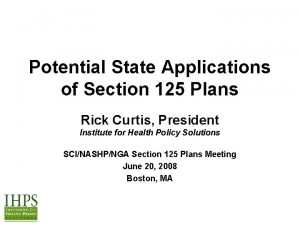 Potential State Applications of Section 125 Plans Rick