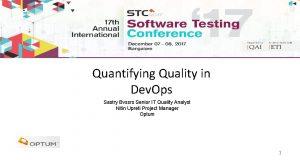 Quantifying Quality in Dev Ops Sastry Bvssrs Senior