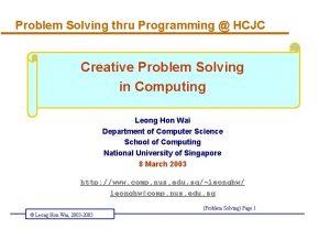 Problem Solving thru Programming HCJC Creative Problem Solving
