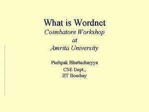 What is Wordnet Coimbatore Workshop at Amrita University