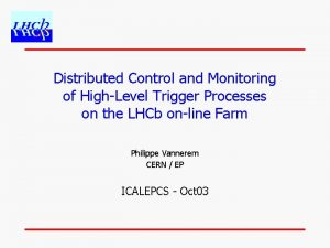 Distributed Control and Monitoring of HighLevel Trigger Processes
