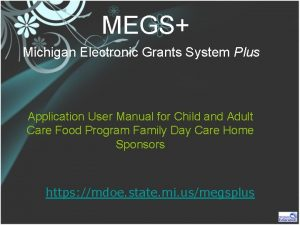 MEGS Michigan Electronic Grants System Plus Application User