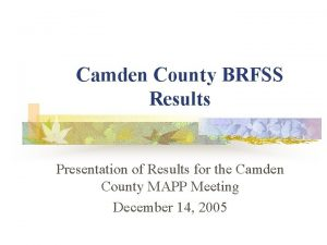 Camden County BRFSS Results Presentation of Results for