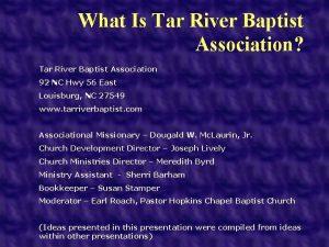 What Is Tar River Baptist Association Tar River