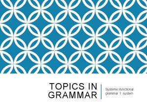 TOPICS IN GRAMMAR Systemicfunctional grammar 1 system SOME