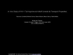 In Vivo Study of HIV1 Tat Argininerich Motif
