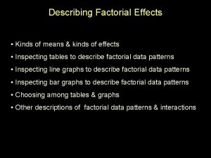 Describing Factorial Effects Kinds of means kinds of