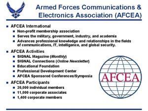 Armed Forces Communications Electronics Association AFCEA n AFCEA