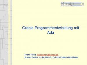 Oracle Programmentwicklung mit Ada Frank Piron frank pironkonad