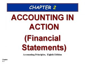 CHAPTER 2 ACCOUNTING IN ACTION Financial Statements Accounting