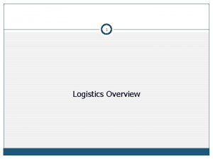 1 Logistics Overview Logistics Overview 2 Session Objectives