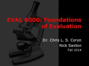 EVAL 6000 Foundations of Evaluation Dr Chris L