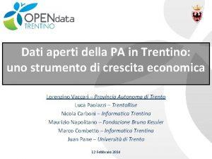Dati aperti della PA in Trentino uno strumento