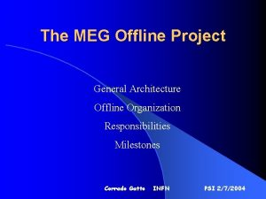 The MEG Offline Project General Architecture Offline Organization