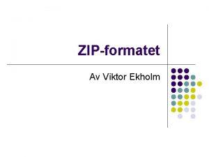 ZIPformatet Av Viktor Ekholm Vad ska jag prata