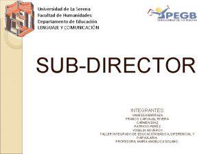 Universidad de La Serena Facultad de Humanidades Departamento