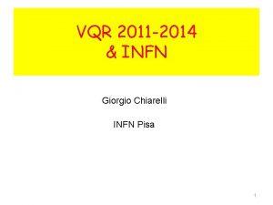VQR 2011 2014 INFN Giorgio Chiarelli INFN Pisa