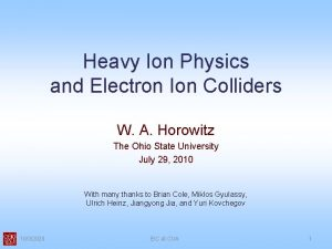 Heavy Ion Physics and Electron Ion Colliders W