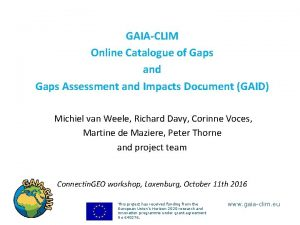 GAIACLIM Online Catalogue of Gaps and Gaps Assessment