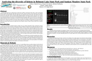 Analyzing the diversity of lichens in Belmont Lake