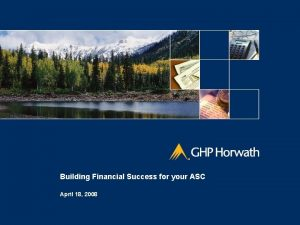 Building Financial Success for your ASC April 18