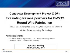 The Business of Science Conductor Development Project CDP