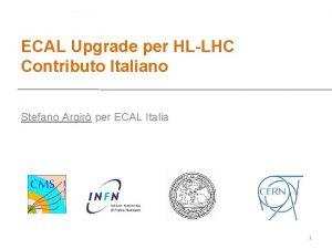 ECAL Upgrade per HLLHC Contributo Italiano Stefano Argir