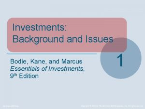 Investments Background and Issues Bodie Kane and Marcus