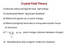 Crystal Field Theory i Separate metal and ligands