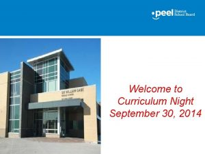 Welcome to Curriculum Night September 30 2014 Sixth