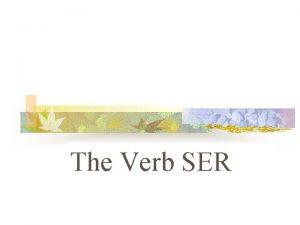 The Verb SER SER The verb SER means