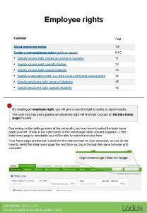 Employee rights Content Page About employee rights 1