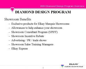 2004 Diamond Design Program Overview DIAMOND DESIGN PROGRAM