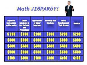 Mth JPARY Algebraic Expressions and Formulas Linear Equations