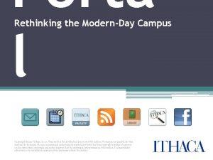 Porta l Rethinking the ModernDay Campus Copyright Ithaca