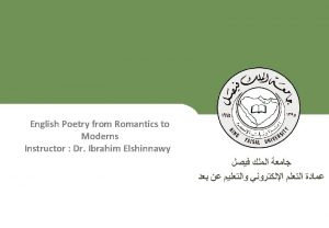 English Poetry from Romantics to Moderns Instructor Dr