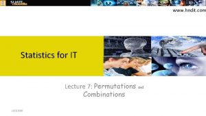 www hndit com Statistics for IT Lecture 7