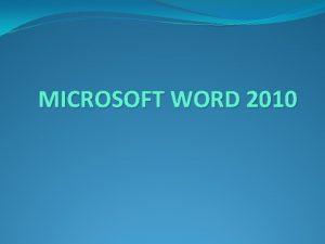 MICROSOFT WORD 2010 TRAKE U PROZORU WORD PODEAVANJE